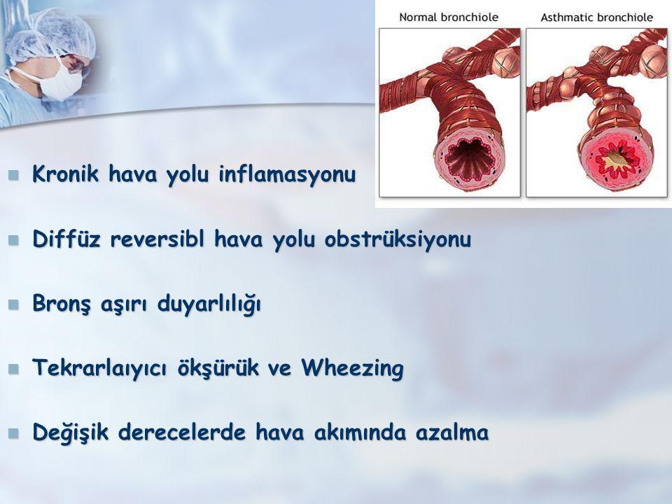 Th2 Lenfosit Kronik Eozinofilik İnflamasyon Subepitelyal fibrozis Düz kas hipertrofisi Goblet hücre hiperplazisi Revaskülarizasyon Epitel yıkımı ECP MBP NO IL-3, IL-5 GM-CSF Eozinofil Mast hücresi IL-4 IL-5 IL-3 SCF IL-4 IL-13 IgE B Lenfosit Akut İnflamatuar Ataklar Bronkospazm Vazodilatasyon Permeabilite artışı Ödem Mukus sekresyonu Histamin LTC 4 PGD 2