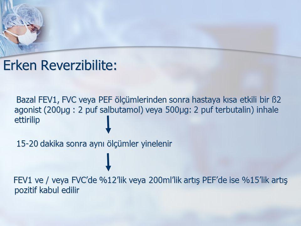 Erken Reverzibilite: Bazal FEV1, FVC veya PEF ölçümlerinden sonra hastaya kısa etkili bir ß2 agonist (200µg : 2 puf salbutamol) veya 500µg: 2 puf terbutalin) inhale ettirilip Bazal FEV1, FVC veya PEF ölçümlerinden sonra hastaya kısa etkili bir ß2 agonist (200µg : 2 puf salbutamol) veya 500µg: 2 puf terbutalin) inhale ettirilip 15-20 dakika sonra aynı ölçümler yinelenir 15-20 dakika sonra aynı ölçümler yinelenir FEV1 ve / veya FVC'de %12'lik veya 200ml'lik artış PEF'de ise %15'lik artış pozitif kabul edilir FEV1 ve / veya FVC'de %12'lik veya 200ml'lik artış PEF'de ise %15'lik artış pozitif kabul edilir
