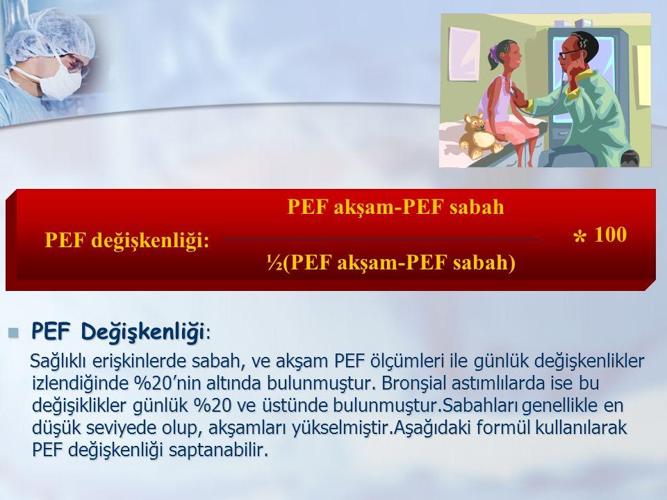 PEF Değişkenliği : PEF Değişkenliği : Sağlıklı erişkinlerde sabah, ve akşam PEF ölçümleri ile günlük değişkenlikler izlendiğinde %20'nin altında bulunmuştur.