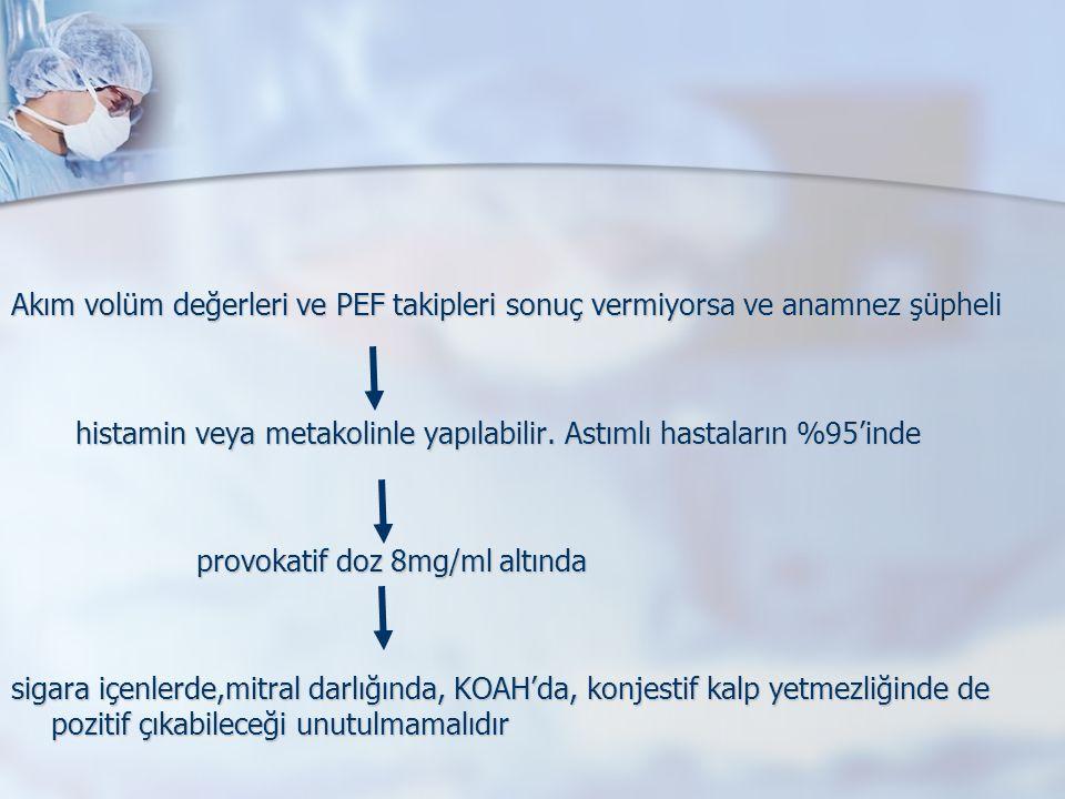 Akım volüm değerleri ve PEF takipleri sonuç vermiyorsa ve anamnez şüpheli histamin veya metakolinle yapılabilir.