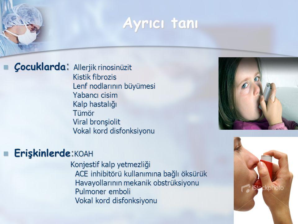 Ayrıcı tanı Çocuklarda : Allerjik rinosinüzit Çocuklarda : Allerjik rinosinüzit Kistik fibrozis Kistik fibrozis Lenf nodlarının büyümesi Lenf nodlarının büyümesi Yabancı cisim Yabancı cisim Kalp hastalığı Kalp hastalığı Tümör Tümör Viral bronşiolit Viral bronşiolit Vokal kord disfonksiyonu Vokal kord disfonksiyonu Erişkinlerde : KOAH Erişkinlerde : KOAH Konjestif kalp yetmezliği Konjestif kalp yetmezliği ACE inhibitörü kullanımına bağlı öksürük ACE inhibitörü kullanımına bağlı öksürük Havayollarının mekanik obstrüksiyonu Havayollarının mekanik obstrüksiyonu Pulmoner emboli Pulmoner emboli Vokal kord disfonksiyonu Vokal kord disfonksiyonu