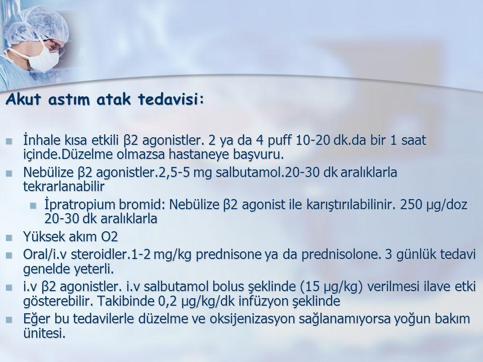 Akut astım atak tedavisi: İnhale kısa etkili β2 agonistler.