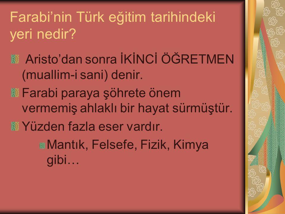 Farabi'nin Türk eğitim tarihindeki yeri nedir.