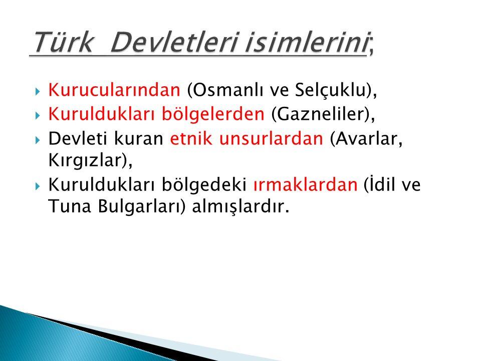  Kurucularından (Osmanlı ve Selçuklu),  Kuruldukları bölgelerden (Gazneliler),  Devleti kuran etnik unsurlardan (Avarlar, Kırgızlar),  Kuruldukları bölgedeki ırmaklardan (İdil ve Tuna Bulgarları) almışlardır.