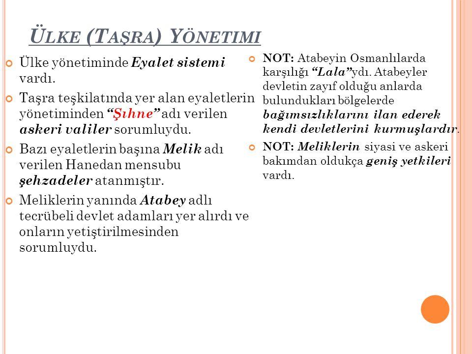 Ü LKE (T AŞRA ) Y ÖNETIMI Ülke yönetiminde Eyalet sistemi vardı.