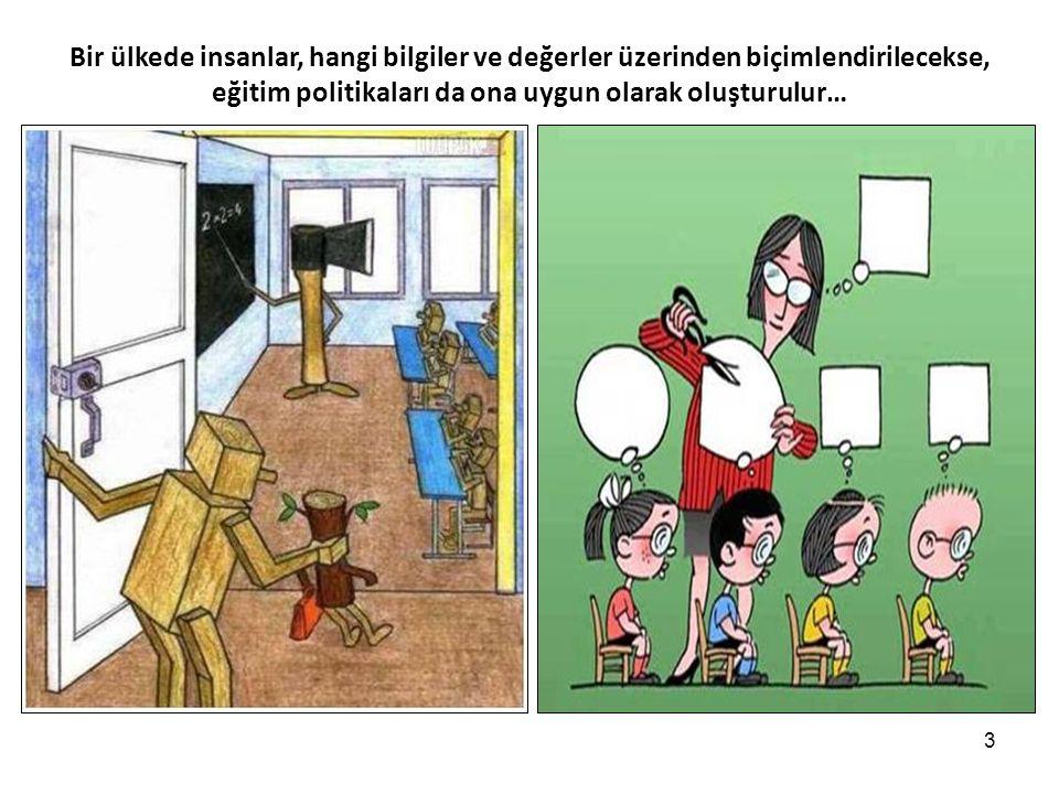 3 Bir ülkede insanlar, hangi bilgiler ve değerler üzerinden biçimlendirilecekse, eğitim politikaları da ona uygun olarak oluşturulur…