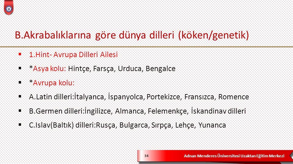 Adnan Menderes Üniversitesi Uzaktan Eğitim Merkezi B.Akrabalıklarına göre dünya dilleri (köken/genetik) 34  1.Hint- Avrupa Dilleri Ailesi  *Asya kol