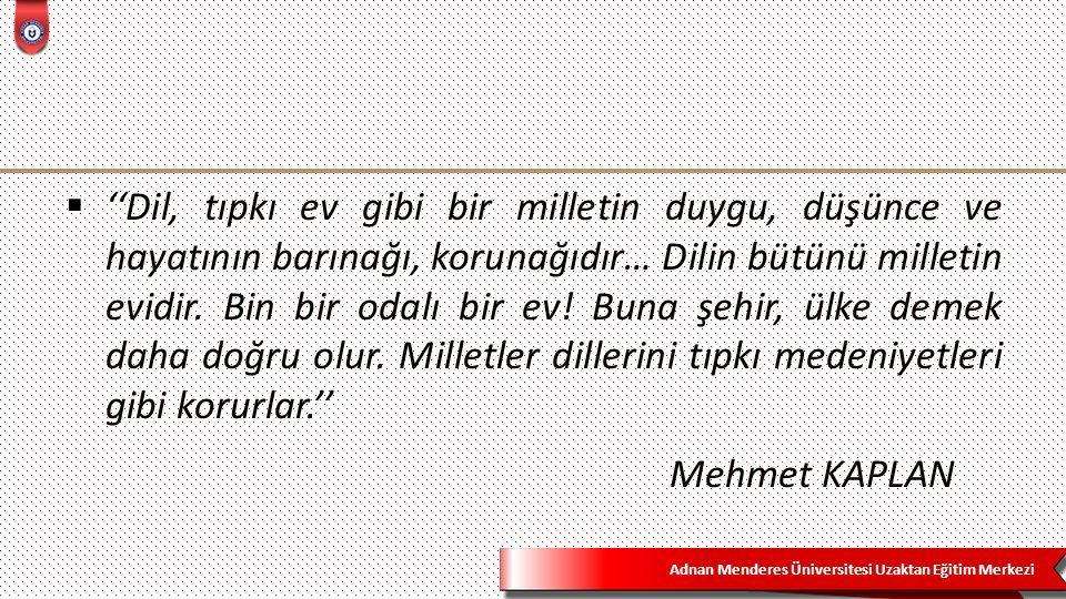 Adnan Menderes Üniversitesi Uzaktan Eğitim Merkezi  Tanımlarda;  *Muharrem Ergin'de 'her yönüyle dilin özellikleri'  *Doğan Aksan'da 'kültür ve uygarlığın dil ile ilişkisi'  *Mehmet Kaplan'da 'dilin millet hayatındaki yeri'  ağırlıklı olarak vurgulanmaktadır.