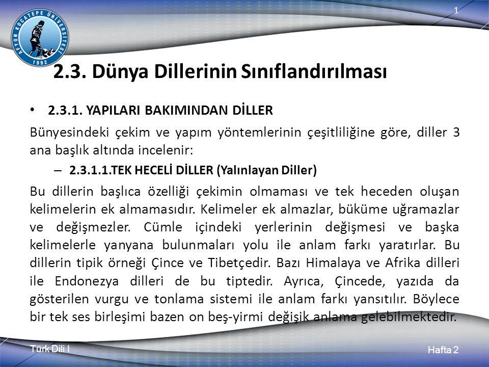 Türk Dili I Hafta 2 1 2.3. Dünya Dillerinin Sınıflandırılması 2.3.1. YAPILARI BAKIMINDAN DİLLER Bünyesindeki çekim ve yapım yöntemlerinin çeşitliliğin