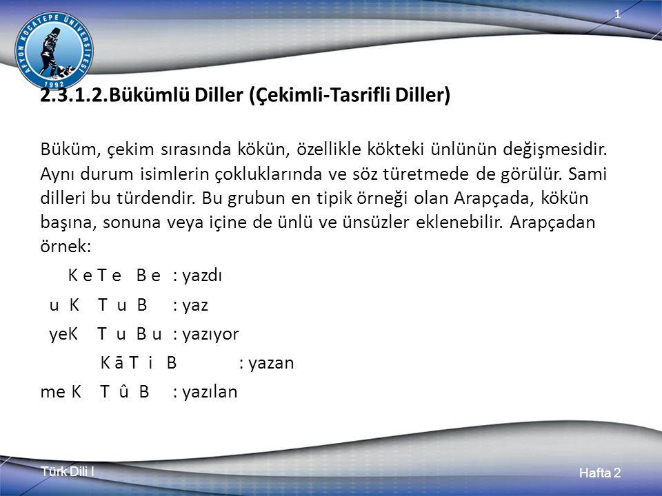 Türk Dili I Hafta 2 1 2.3.1.2.Bükümlü Diller (Çekimli-Tasrifli Diller) Büküm, çekim sırasında kökün, özellikle kökteki ünlünün değişmesidir. Aynı duru