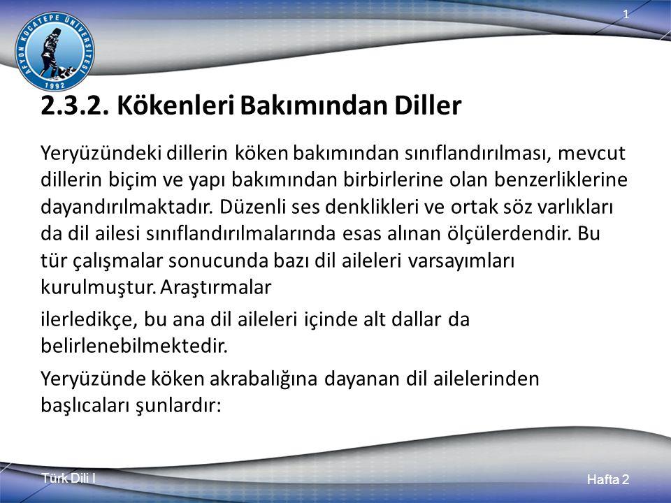 Türk Dili I Hafta 2 1 2.3.2. Kökenleri Bakımından Diller Yeryüzündeki dillerin köken bakımından sınıflandırılması, mevcut dillerin biçim ve yapı bakım