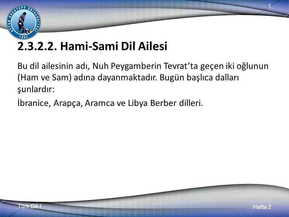 Türk Dili I Hafta 2 1 2.3.2.2. Hami-Sami Dil Ailesi Bu dil ailesinin adı, Nuh Peygamberin Tevrat'ta geçen iki oğlunun (Ham ve Sam) adına dayanmaktadır
