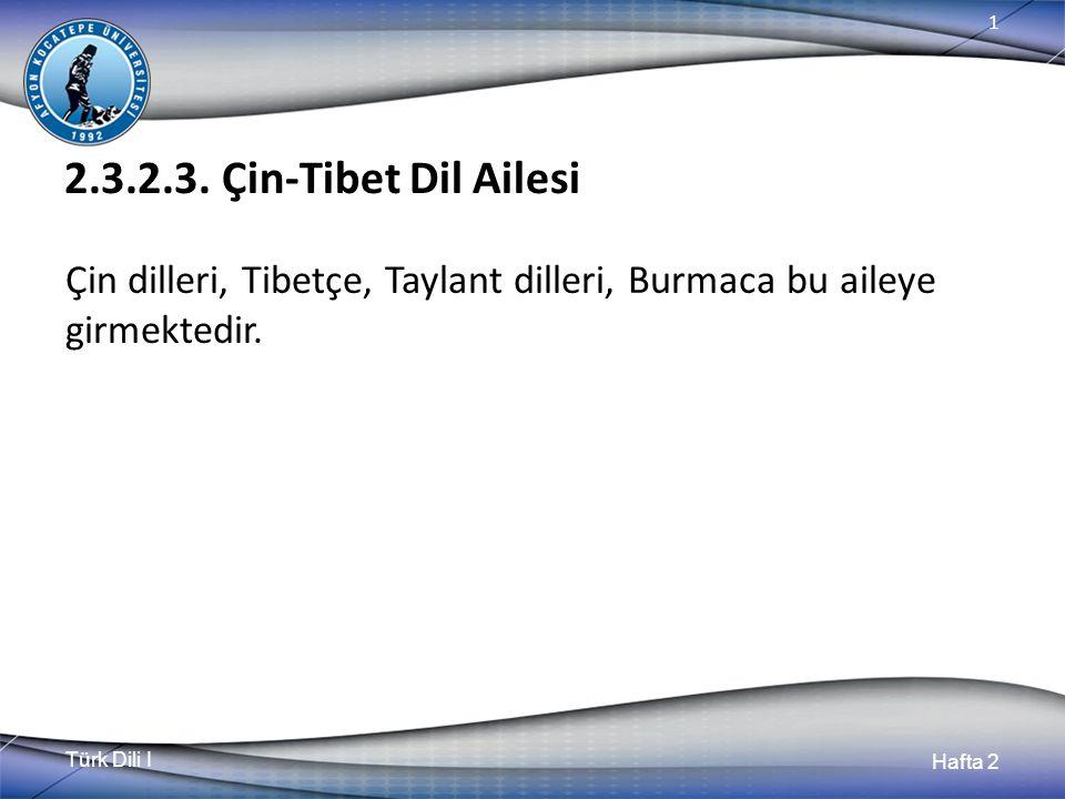 Türk Dili I Hafta 2 1 2.3.2.3. Çin-Tibet Dil Ailesi Çin dilleri, Tibetçe, Taylant dilleri, Burmaca bu aileye girmektedir.