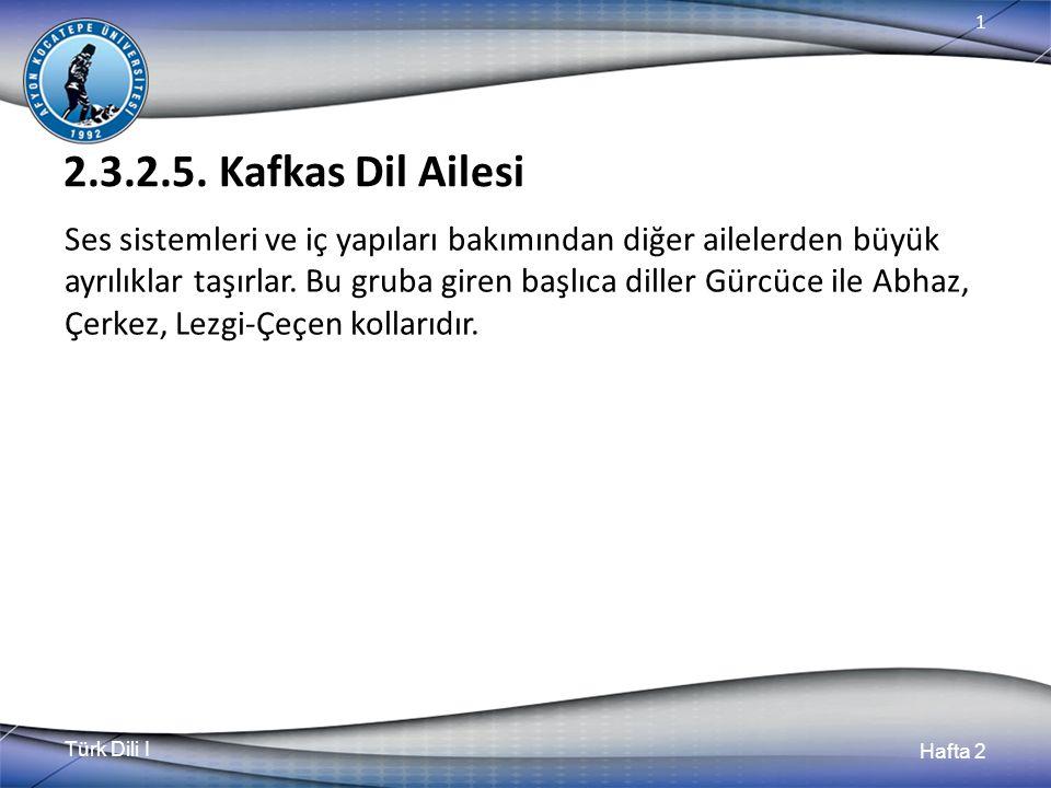Türk Dili I Hafta 2 1 2.3.2.5. Kafkas Dil Ailesi Ses sistemleri ve iç yapıları bakımından diğer ailelerden büyük ayrılıklar taşırlar. Bu gruba giren b