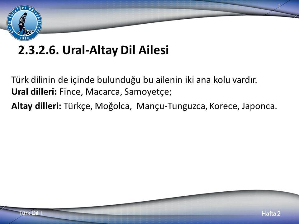 Türk Dili I Hafta 2 1 2.3.2.6. Ural-Altay Dil Ailesi Türk dilinin de içinde bulunduğu bu ailenin iki ana kolu vardır. Ural dilleri: Fince, Macarca, Sa