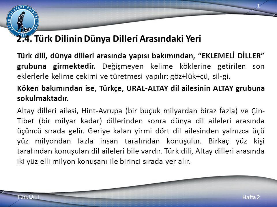 """Türk Dili I Hafta 2 1 2.4. Türk Dilinin Dünya Dilleri Arasındaki Yeri Türk dili, dünya dilleri arasında yapısı bakımından, """"EKLEMELİ DİLLER"""" grubuna g"""