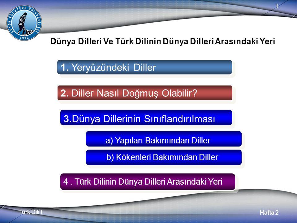 Türk Dili I Hafta 2 1 D ünya Dilleri Ve Türk Dilinin Dünya Dilleri Arasındaki Yeri 1.