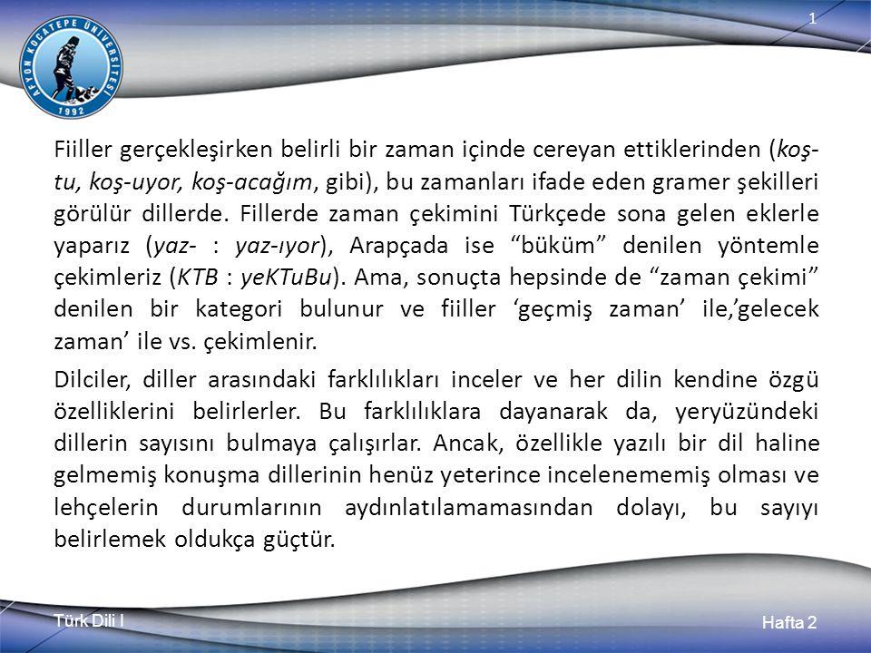 Türk Dili I Hafta 2 1 Fiiller gerçekleşirken belirli bir zaman içinde cereyan ettiklerinden (koş- tu, koş-uyor, koş-acağım, gibi), bu zamanları ifade eden gramer şekilleri görülür dillerde.
