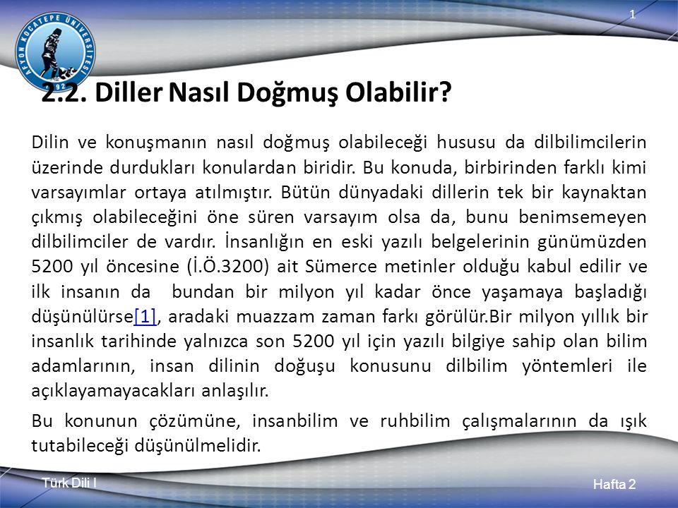 Türk Dili I Hafta 2 1 2.2. Diller Nasıl Doğmuş Olabilir.