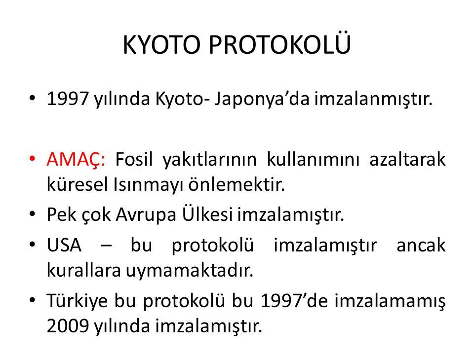 KYOTO PROTOKOLÜ 1997 yılında Kyoto- Japonya'da imzalanmıştır.