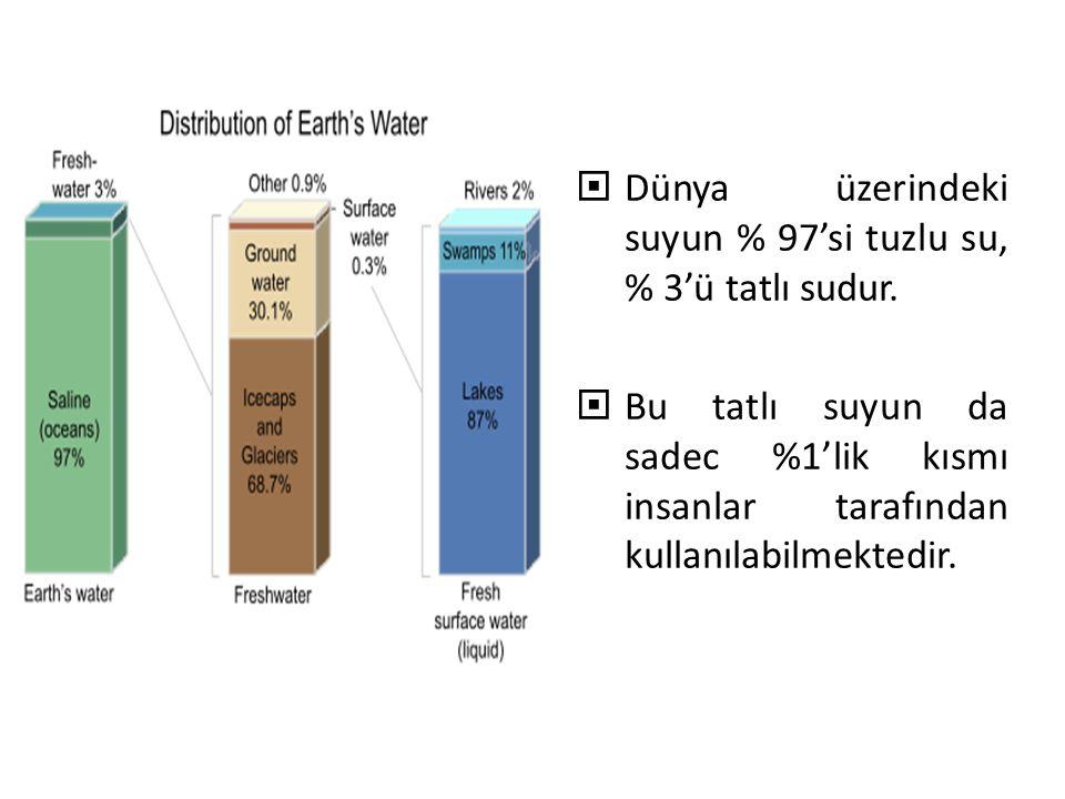  Dünya üzerindeki suyun % 97'si tuzlu su, % 3'ü tatlı sudur.