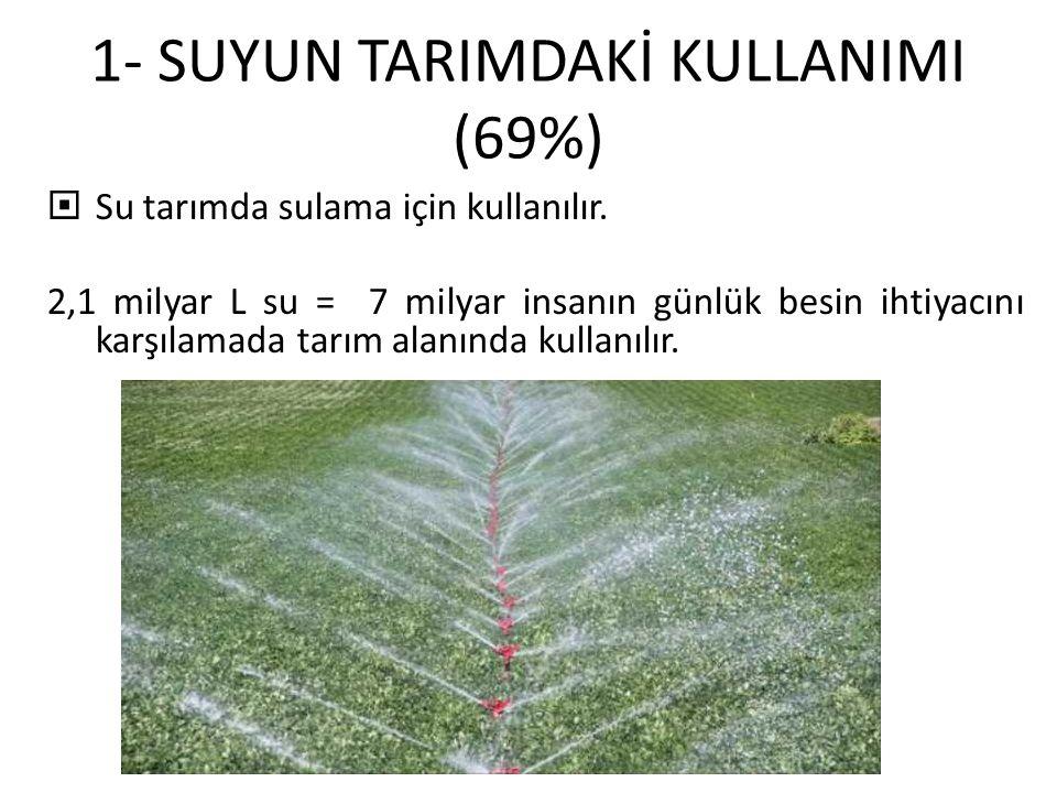 1- SUYUN TARIMDAKİ KULLANIMI (69%)  Su tarımda sulama için kullanılır.