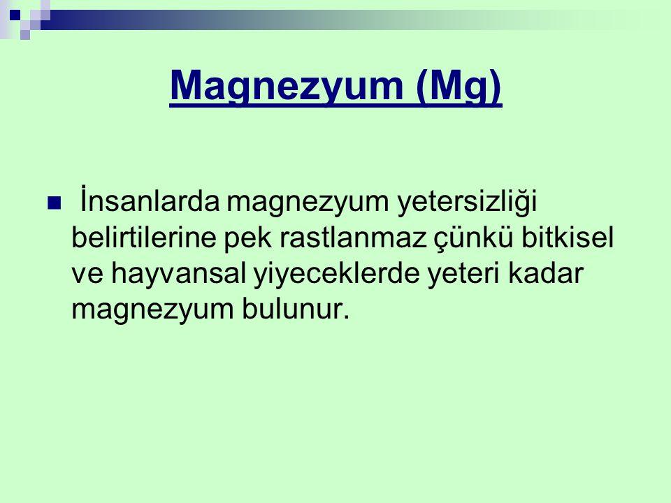 Magnezyum (Mg) İnsanlarda magnezyum yetersizliği belirtilerine pek rastlanmaz çünkü bitkisel ve hayvansal yiyeceklerde yeteri kadar magnezyum bulunur.