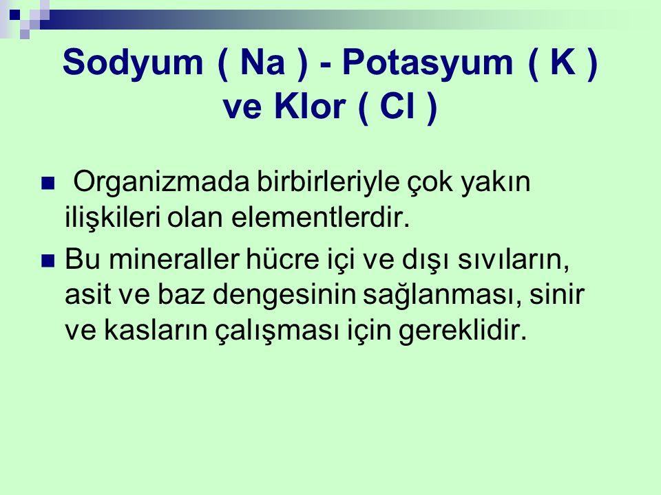 Sodyum ( Na ) - Potasyum ( K ) ve Klor ( Cl ) Organizmada birbirleriyle çok yakın ilişkileri olan elementlerdir. Bu mineraller hücre içi ve dışı sıvıl