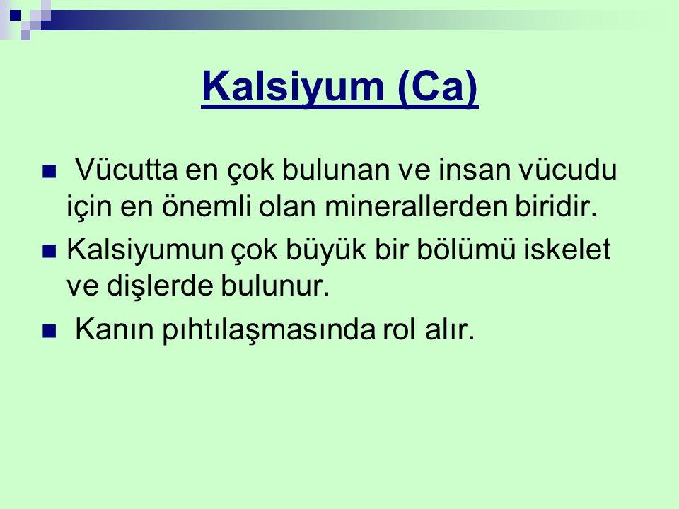 Kalsiyum (Ca) Vücutta en çok bulunan ve insan vücudu için en önemli olan minerallerden biridir. Kalsiyumun çok büyük bir bölümü iskelet ve dişlerde bu