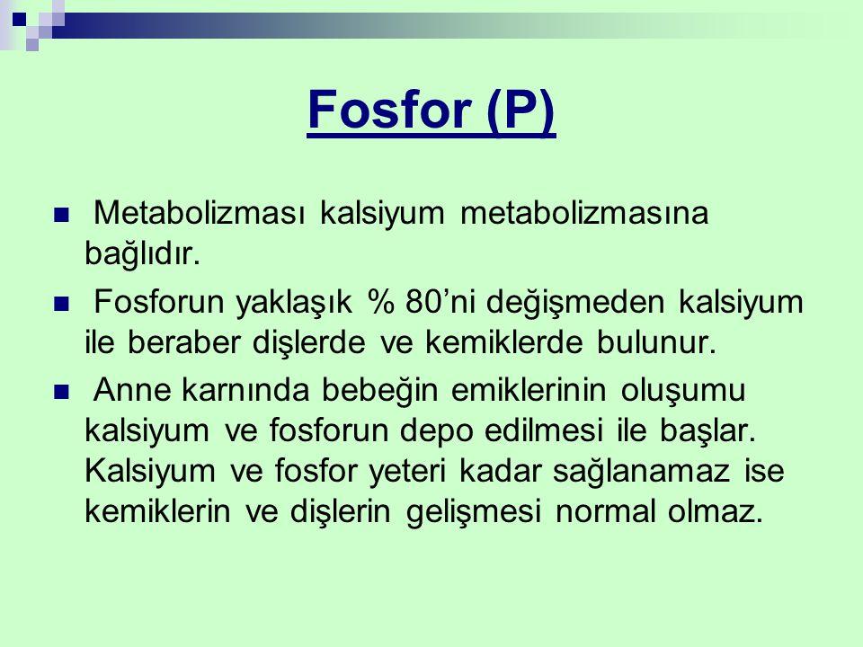 Fosfor (P) Metabolizması kalsiyum metabolizmasına bağlıdır. Fosforun yaklaşık % 80'ni değişmeden kalsiyum ile beraber dişlerde ve kemiklerde bulunur.