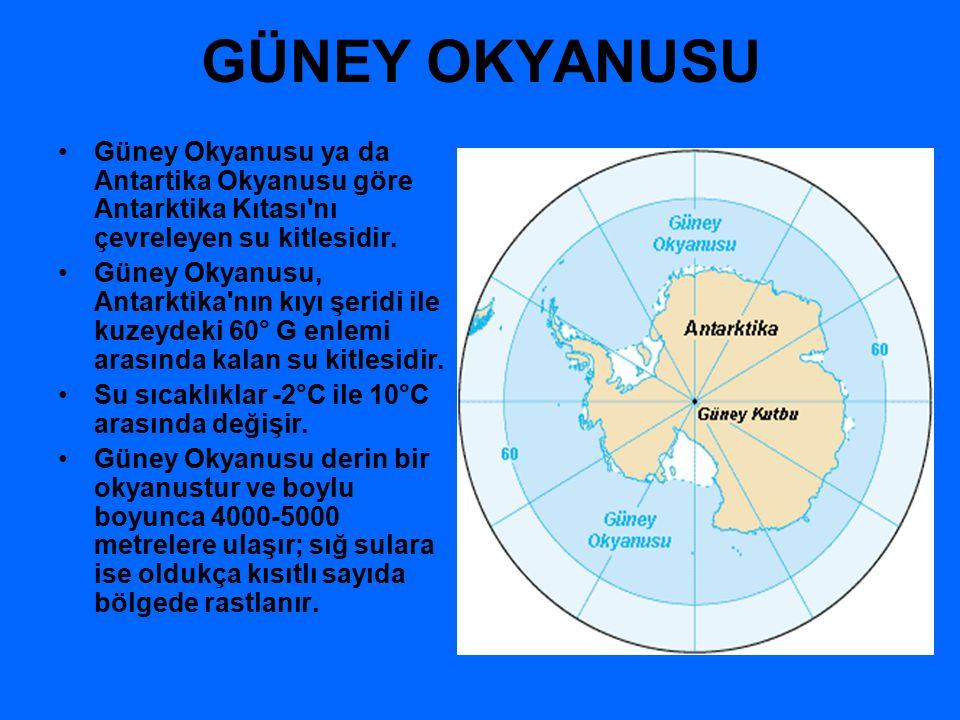 GÜNEY OKYANUSU Güney Okyanusu ya da Antartika Okyanusu göre Antarktika Kıtası nı çevreleyen su kitlesidir.