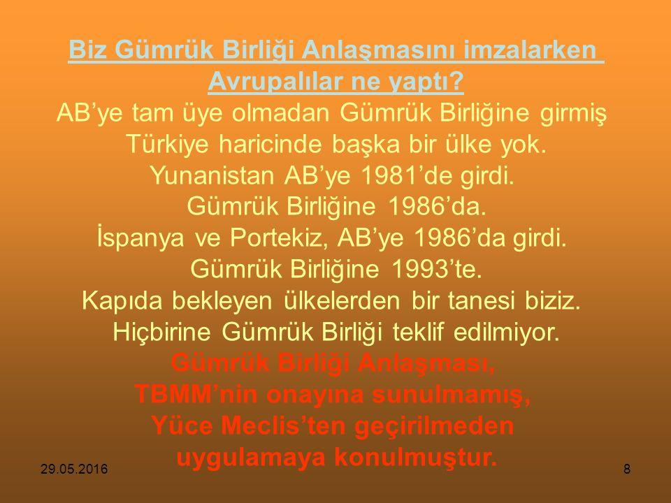 29.05.20167 Şimdi günümüz Türkiye'sine bakalım; 1995 Gümrük Birliği Anlaşması = 1838 Balta Limanı Ticaret Anlaşması Kimler ne söylüyor.