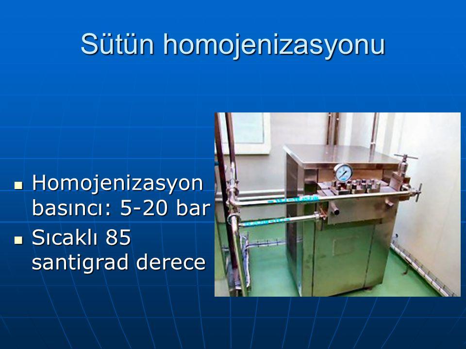 Sütün homojenizasyonu Homojenizasyon basıncı: 5-20 bar Homojenizasyon basıncı: 5-20 bar Sıcaklı 85 santigrad derece Sıcaklı 85 santigrad derece