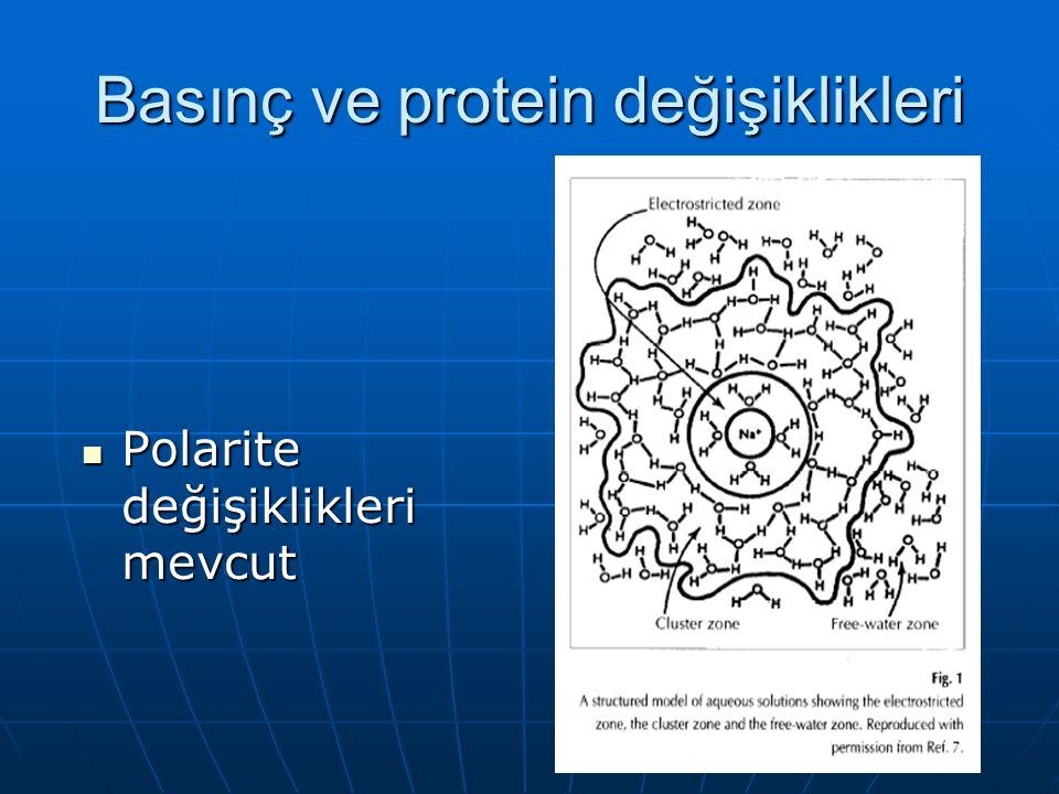 Basınç ve protein değişiklikleri Polarite değişiklikleri mevcut Polarite değişiklikleri mevcut