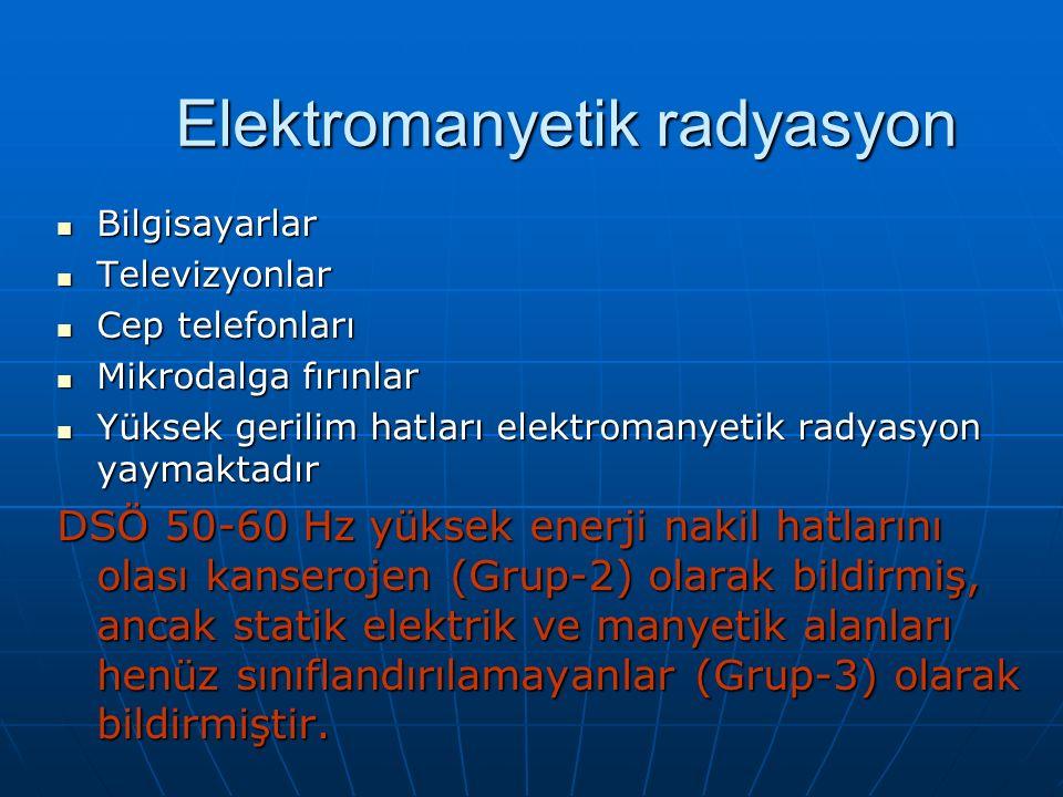Bilgisayarlar Bilgisayarlar Televizyonlar Televizyonlar Cep telefonları Cep telefonları Mikrodalga fırınlar Mikrodalga fırınlar Yüksek gerilim hatları elektromanyetik radyasyon yaymaktadır Yüksek gerilim hatları elektromanyetik radyasyon yaymaktadır DSÖ 50-60 Hz yüksek enerji nakil hatlarını olası kanserojen (Grup-2) olarak bildirmiş, ancak statik elektrik ve manyetik alanları henüz sınıflandırılamayanlar (Grup-3) olarak bildirmiştir.