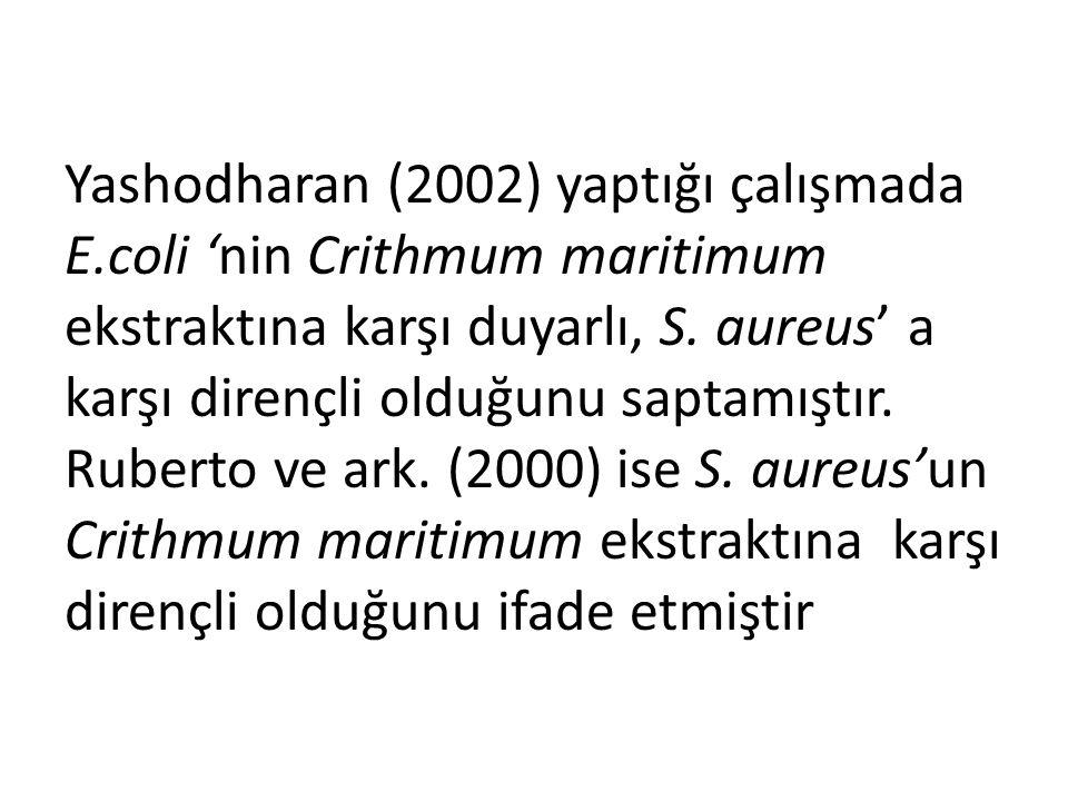 Yashodharan (2002) yaptığı çalışmada E.coli 'nin Crithmum maritimum ekstraktına karşı duyarlı, S.