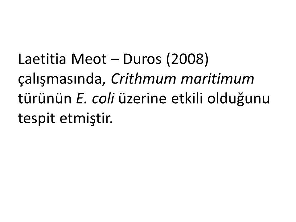 Laetitia Meot – Duros (2008) çalışmasında, Crithmum maritimum türünün E.