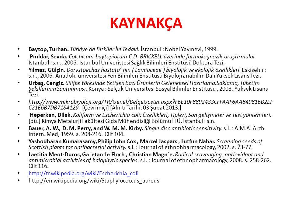 KAYNAKÇA Baytop, Turhan.Türkiye de Bitkiler İle Tedavi.