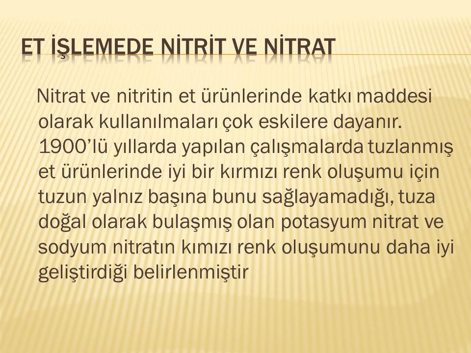 Nitrat ve nitritin et ürünlerinde katkı maddesi olarak kullanılmaları çok eskilere dayanır. 1900'lü yıllarda yapılan çalışmalarda tuzlanmış et ürünler