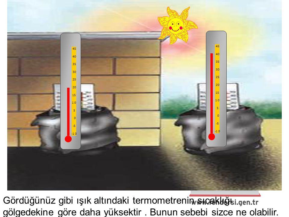 45 40 35 30 25 20 15 1 0 5 0 -5 -1 0 45 40 35 30 25 20 15 1 0 5 0 -5 -1 0 Gördüğünüz gibi ışık altındaki termometrenin sıcaklığı gölgedekine göre daha yüksektir.