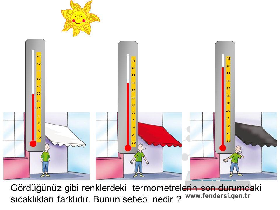 45 40 35 30 25 20 15 1 0 5 0 -5 -1 0 45 40 35 30 25 20 15 1 0 5 0 -5 -1 0 45 40 35 30 25 20 15 1 0 5 0 -5 -1 0 Gördüğünüz gibi renklerdeki termometrelerin son durumdaki sıcaklıkları farklıdır.