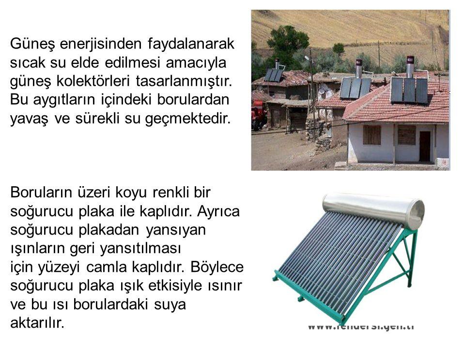 Güneş enerjisinden faydalanarak sıcak su elde edilmesi amacıyla güneş kolektörleri tasarlanmıştır.