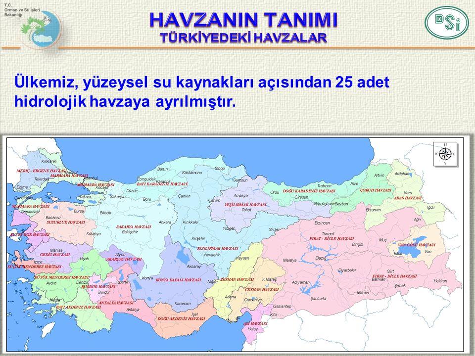 3 Ülkemiz, yüzeysel su kaynakları açısından 25 adet hidrolojik havzaya ayrılmıştır.