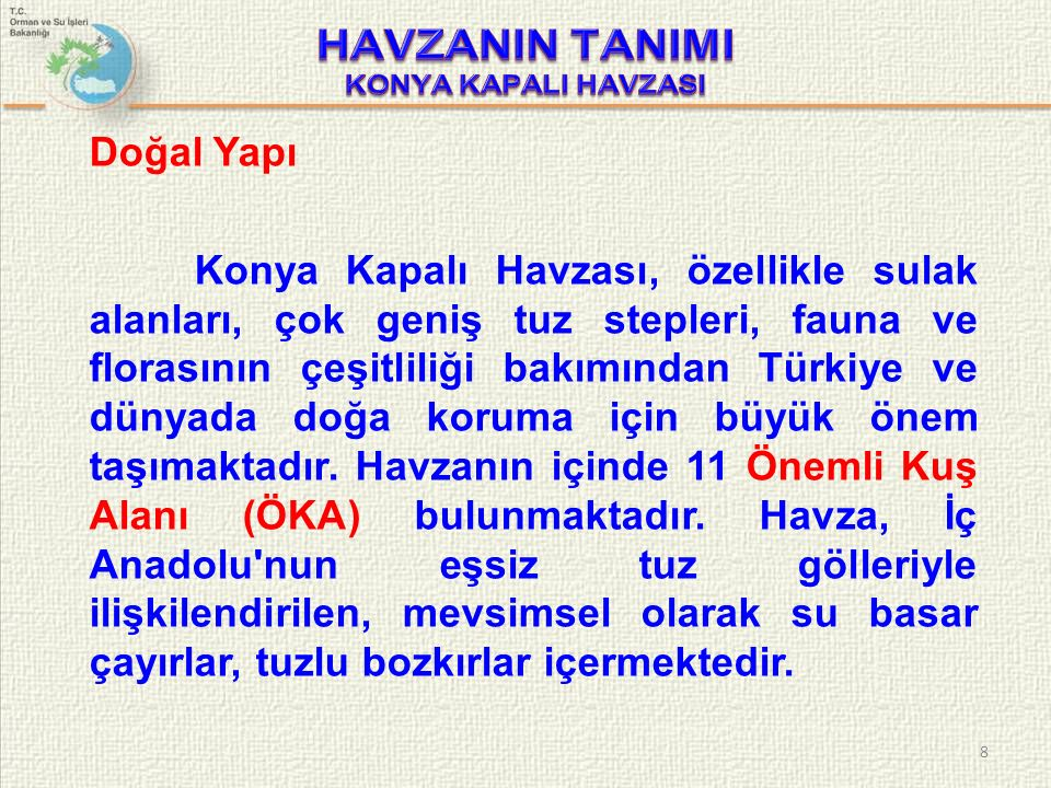 Doğal Yapı Konya Kapalı Havzası, özellikle sulak alanları, çok geniş tuz stepleri, fauna ve florasının çeşitliliği bakımından Türkiye ve dünyada doğa koruma için büyük önem taşımaktadır.