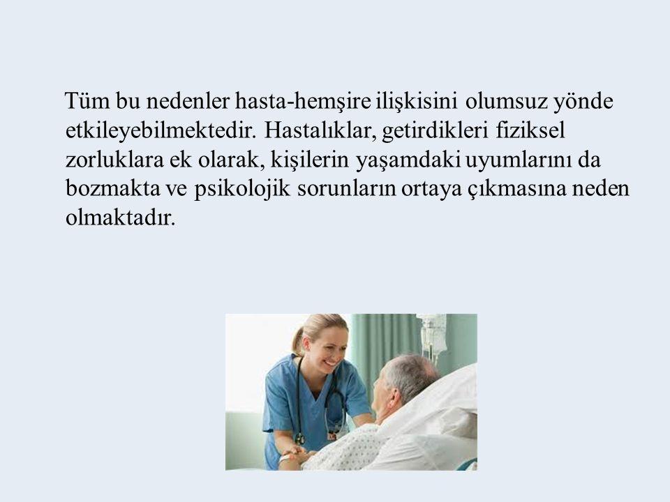Tüm bu nedenler hasta-hemşire ilişkisini olumsuz yönde etkileyebilmektedir.