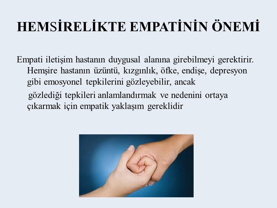 HEMSİRELİKTE EMPATİNİN ÖNEMİ Empati iletişim hastanın duygusal alanına girebilmeyi gerektirir.