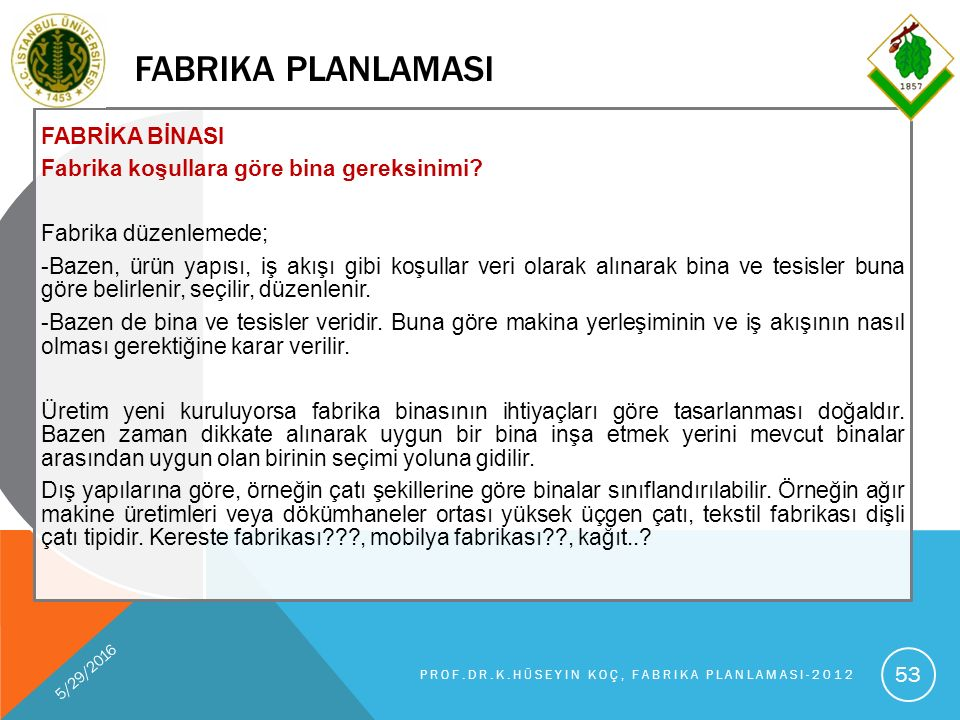 FABRIKA PLANLAMASI FABRİKA BİNASI Fabrika koşullara göre bina gereksinimi.