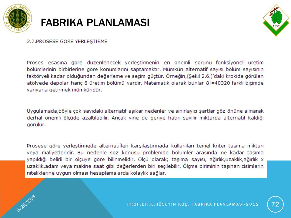 FABRIKA PLANLAMASI 5/29/2016 PROF.DR.K.HÜSEYIN KOÇ, FABRIKA PLANLAMASI-2012 72