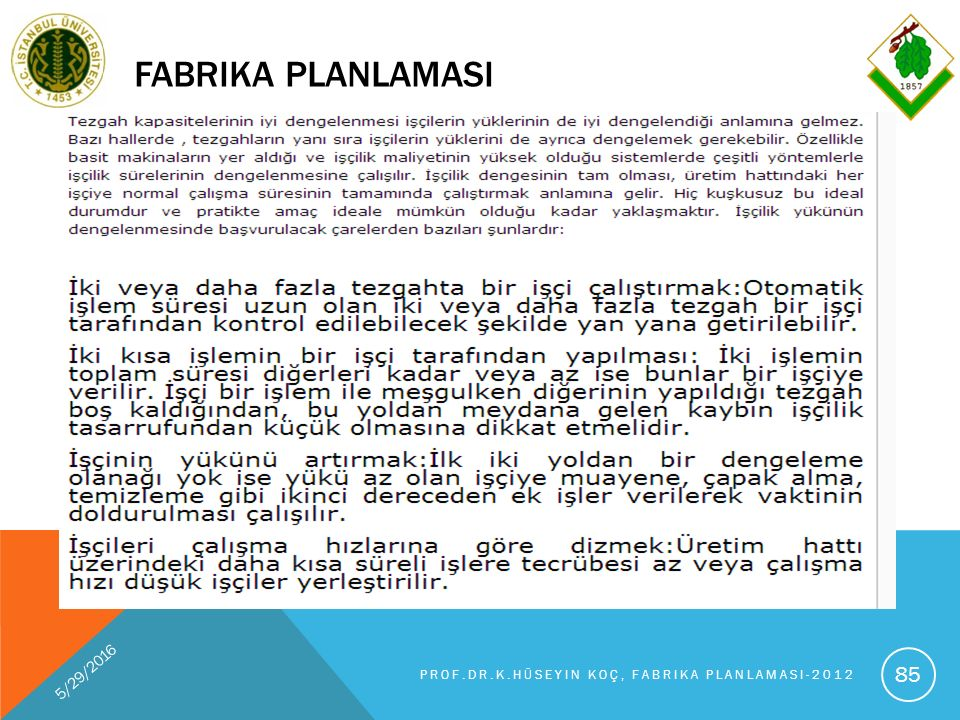 FABRIKA PLANLAMASI 5/29/2016 PROF.DR.K.HÜSEYIN KOÇ, FABRIKA PLANLAMASI-2012 85