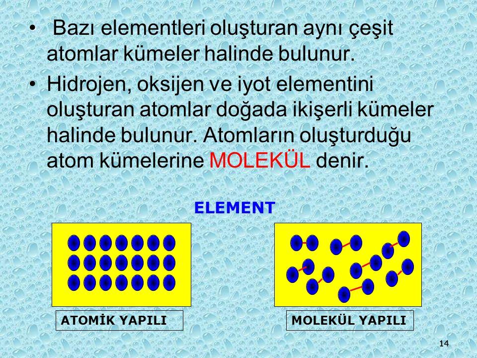13 ELEMENT YAPI MODELLERİ Bazı elementler atomlarının bir birine bağlanmasıyla oluşur.